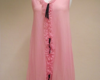 Vintage 1960s/1970s pink nylon baby doll nightie with ruffles and black ribbon, nightwear. Boudoir, lingerie