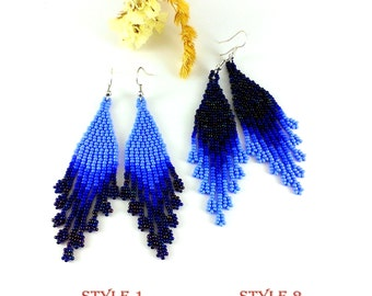 Gift|For|Mom Beaded earrings  Gypsy earrings Purple earrings Navy blue earrings Wife Gift|For|Her Sister Sapphire earrings Royal blue