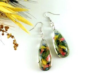 Real flower drop earrings Nature gift earrings Nature jewelry Flower girl gift jewelry Real moss earrings Blue green earrings Jasmine
