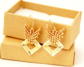 Beaded Earrings / Swarovski Earrings / Swarovski Beaded Earrings /  Swarovski Crystal Jewelry / Bead Jewelry