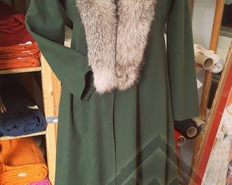 Green Wool Viking Women's Kaftan Coat with Fox Fur Collar