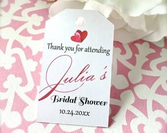 Bridal shower favor tags, thank you tags, custom favor tags, bridal sower, heart tags, favor tags, favor hang tags - 30 tags (tg45)