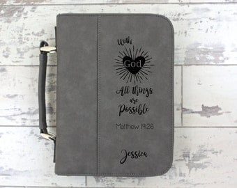 Bible Cover Grey Leather Bible Cover Personalized Bible Cover - With God All Things Are Possible - Christmas Gift - Confirmation Gift