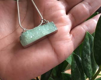 Mint Druzy Quartz Necklace, Reiki Infused
