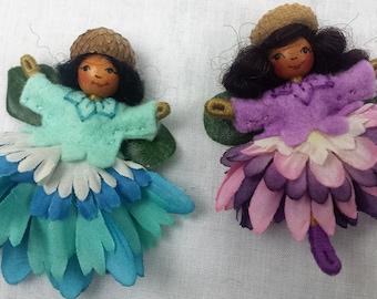 Handmade flower fairy bendy dolls