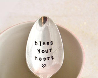 bless your heart,hand stamped/ vintage tea spoon.