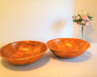 Bamboo Salad Bowls, Wooden Bowls for your Salads, Large Kitchen Bowls, Salad Foodie Bowls, Kitschy Kitchen Snack Bowls, Large Goodie Bowls