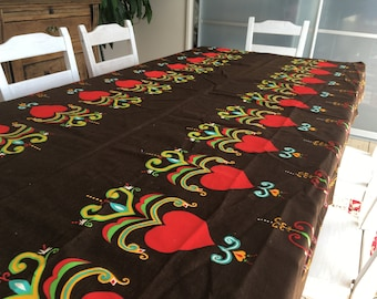 Swedish vintage tablecloth Large printed table cloth Brown red table cloth Brown table cloth with hearts