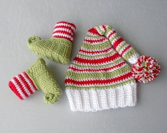 Boy Elf Set, Crochet Elf Set, Elf Hat and Shoes, Christmas Hat, Elf Hat, Christmas Shoes, Elf Shoes, Boy Elf Shoes, Elf Photo Prop