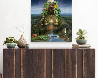 "PRINT 'Gaia"" Poster Original Art by Boni - Gaia, mother earth, pachamama, earth pritn, nature print, godess poster, divine godess,"