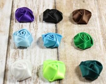 Rose applique, DIY accessories, Fabric flowers, Mini fabric flowers, Scrapbooking