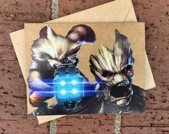 Marvel Rocket Raccoon and Groot (Guardians of the Galaxy)  Comic Book Greeting Card (Blank)