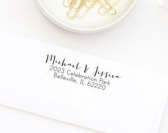 Return Address Stamp, Custom Address Stamp, Wedding Stamp, Self-Inking Stamp, Personalized Address Stamp, Calligraphy Stamp Style No. 21