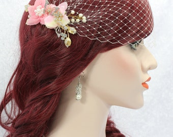 Birdcage Veil and Blush Wedding Hair Comb | bridal headpiece wedding veil crystal comb bridal hair comb wedding hair piece bandeau birdcage