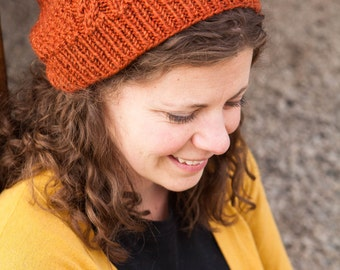 Orange Cable Knit Slouch Beanie