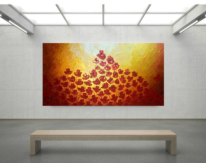 Metallic Impasto Poppy Painting Gold Flowers with Palette Knife and Brush LARGE Canvas 48x24
