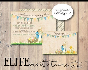 Peter Rabbit Birthday Invitation and Thank You | Vintage Peter Rabbit, Classic, Baby Shower or Birthday