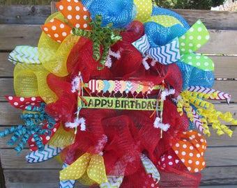 "24"" Happy Birthday Wreath Deco Mesh Birthday Wreath Birthday Balloon Wreath Happy Birthday Door Decor Red Blue Birthday Balloon Door Decor"