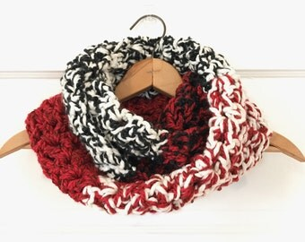 Handmade Colorblock Chunky Crochet Cowl Infinity Scarf - Red, Black, and Cream
