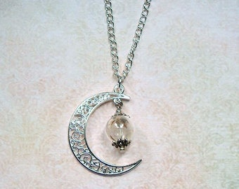 Chain with real flower silver-colored Moon glass