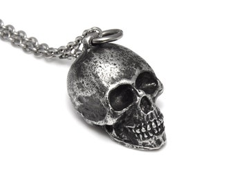 Antiqued Human Skull Pendant Necklace, Handmade Pewter Metal Jewelry