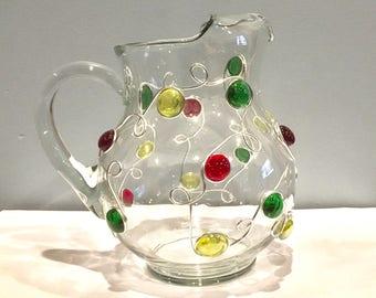 Beaded Margarita Pitcher, Rustic, Glass Pitcher, Glass Vase, Beaded Flower Vase,Wine Pitcher, Iced Tea Pitcher, Sangria Pitcher, Drinkware