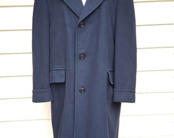 Man's Vintage Black 100% Cashmere Overcoat - Large