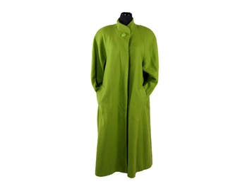Vintage 1980s Evans Chartreuse Green Wool Trapeze Coat (Size XL)