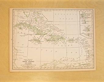 1926 - West Indies Map - Large Antique Map - Beautiful Old Map of West Indies - Large Vintage Map - Colorful Atlas Map - Gift - Home Decor