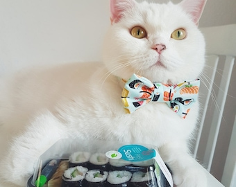 "Cat Collar with Bow Tie - ""Sushi"" - Safety Buckle/Breakaway - Light Blue Cat Bow Tie Collar- Cotton - Fun Cat Bow Tie Collar - Cute"
