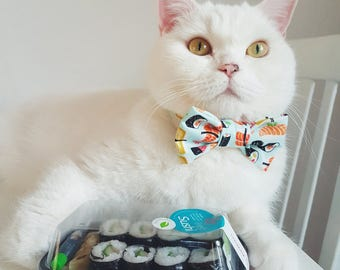 """Cat Collar with Bow Tie - """"Sushi"""" - Safety Buckle/Breakaway - Light Blue Cat Bow Tie Collar- Cotton - Fun Cat Bow Tie Collar - Cute"""