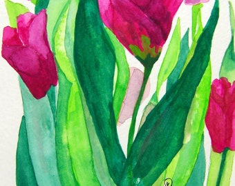 Tulip Notecards, handmade - No.916 Tulips