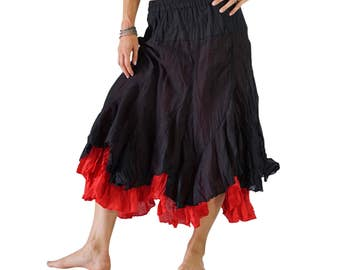 2 LAYER SKIRT Black/Red - Womens Medieval Costume, Steampunk Skirt, Pirate Costume, Wench, Asymmetrical, Peasant Clothing, Renaissance Fest