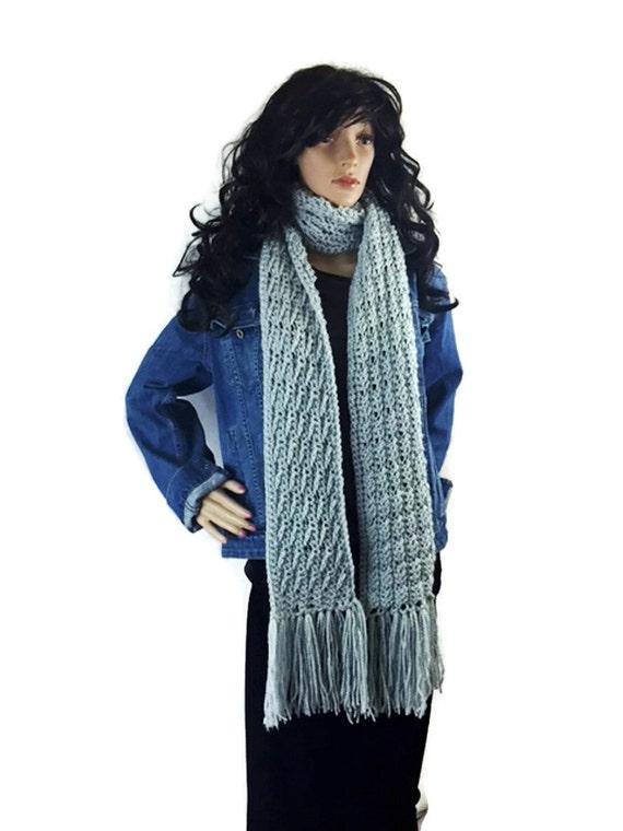 Soft Gray Cobblestone Unisex Fringe Winter Scarf - Gift Under 50 Chunky Outlander Knit Neckwarmer FREE SHIPPING CS20