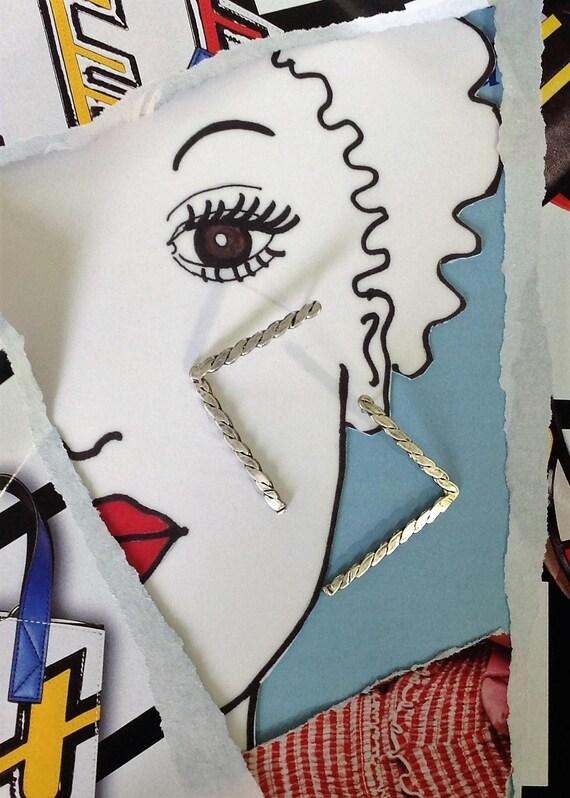 Large Geometric Silver Earrings | Statement Earrings | Large Minimalist Earrings |  Long Post Earrings |  Handmade Artisan OOAK | Sterling