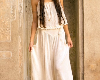 Gaza flair maxi Trousers &Top ~ natural écru ~ handloomed cotton