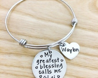 My Greatest Blessings call me Grandma Mimi Memaw Nana Nonna - Keepsake Jewelry - Hand stamped Bracelet Necklace - Personalized Bracelet