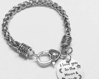 I Love You To The Moon And Back Charm Bracelet, Best Friend Gift, Best Friend Charm Bracelet, Sister Gift Bracelet, Mom Gift Bracelet