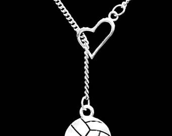 Volleyball Necklace, Sports Necklace, Volleyball Mom Mother Necklace, Heart Y Lariat Necklace
