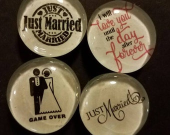 Set of 4 Strong Glass Wedding Marriage Magnets, Just married, funny, game over, love, relationship, magnets, wedding gift