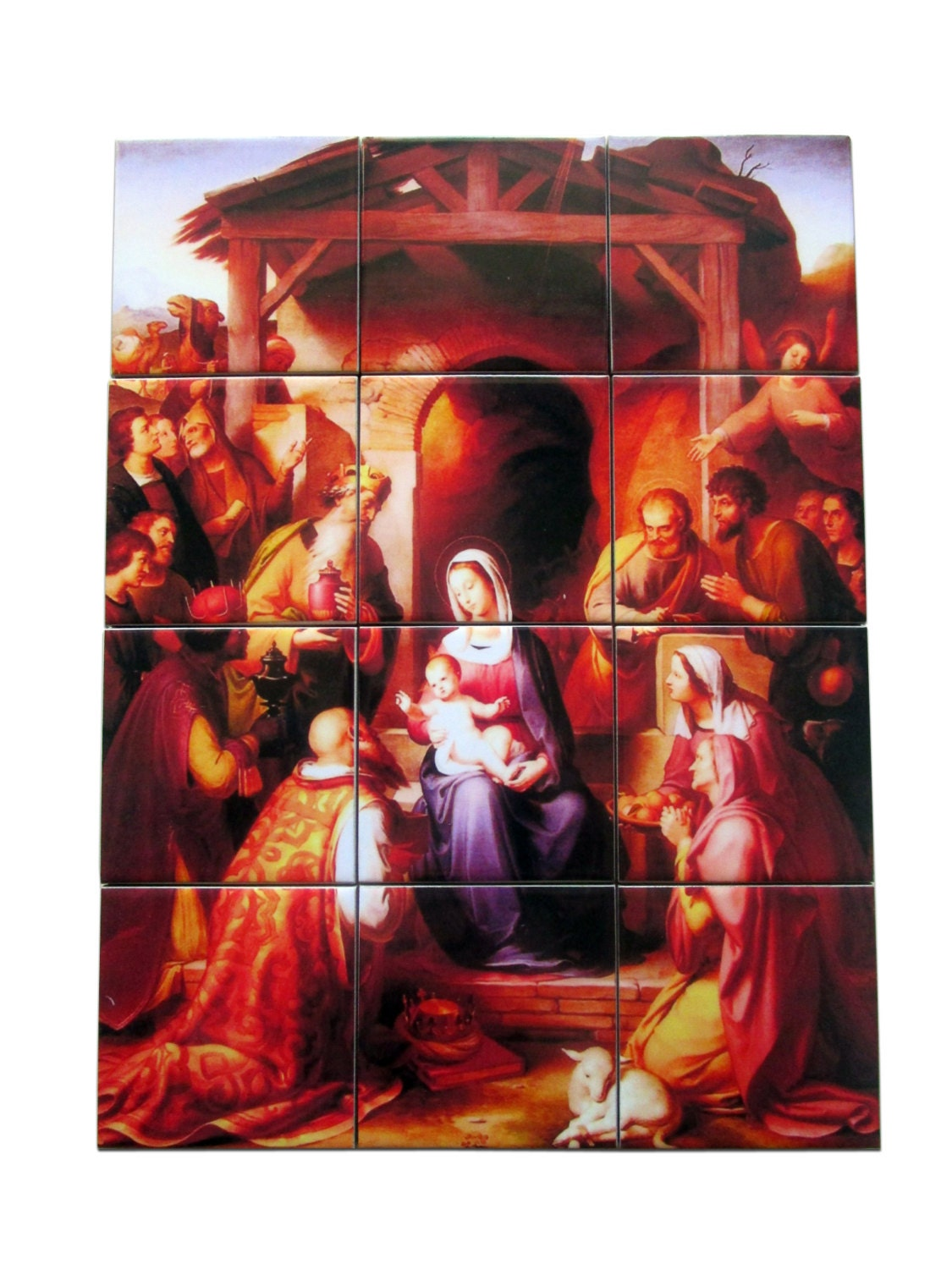 Christian wall art nativity of jesus tile mural mosaic for Christian wall mural