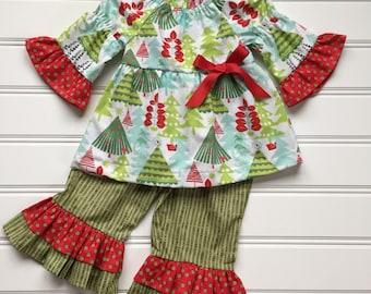 Christmas Outfit for Toddler, Girl Christmas Outfit, Trendy Toddler Clothes, Toddler Christmas Outfit, Toddler Outfit, Girl Ruffle Pants