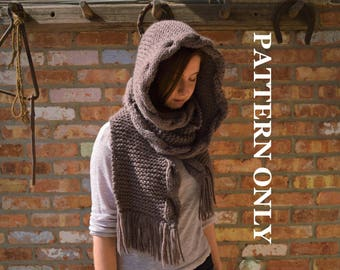 PATTERN: Knit, Hooded, Cabled Scarf.  Knit hooded scarf, hooded scarf, knitting pattern, celtic scarf pattern, knit hooded scarf pattern