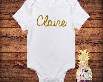 Gold Glitter Name Onesie/ Onesie/ Baby Onesie/ Gold Glitter/ Custom Onesie/ Baby Girl/ Newborn Onesie/ Toddler