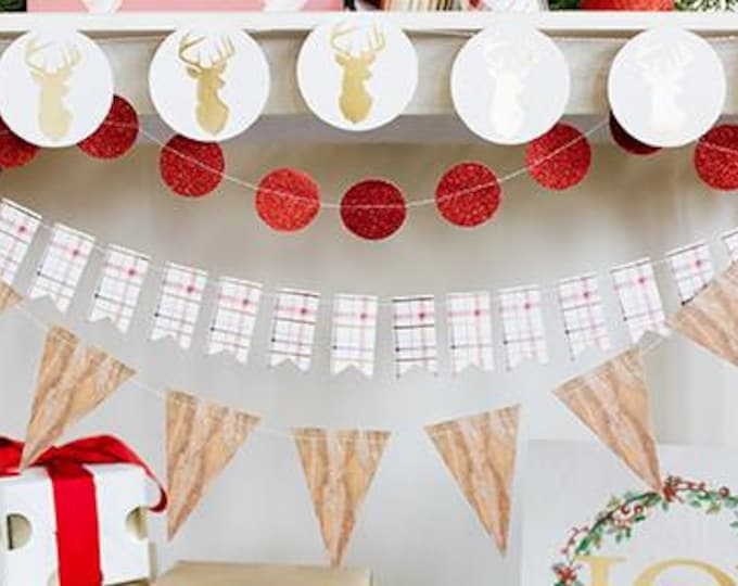 Holiday Banner, Plaid 8 foot Banner, Gold Foil Accent Garland, Holiday Garland HYP103, Metallic Gold and Ivory Garland, Christmas Decor sale