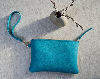 Felt Pouch, Wristlet, Flowered Purse, Felt Handbag, Bridesmaid Bag, Zipper Clutch, Zipper Pouch, Clutch Wallet, Phone Pouch