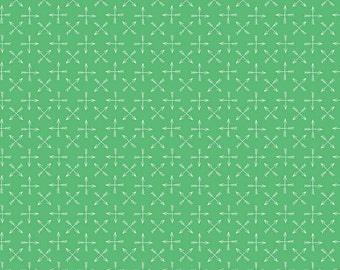 Green Arrows Quilt Fabric, Riley Blake C5145 Green, Greatest Adventure, Natalie Lymer, Green & White Fabric, Cotton