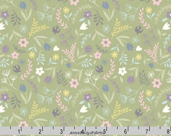 Pastel Green Floral Fabric, Lewis and Irene Salisbury Spring A207 3, Birds and Flowers Quilt Fabric, Spring & Easter Fabric, Cotton