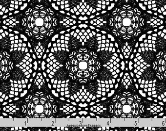 Black Doily Fabric, Patrick Lose CP 62509 Happy Halloween, Quilt Fabric, Black & White Fabric, Valentines Day, Doily Quilt Fabric, Cotton