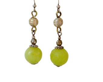 Handmade Earrings Jade and Silver (2 Color Choices)-Chiseled Afghani Jade and Silver-Drop Dangle Handmade Jewelry